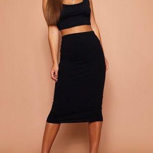 Petite Ribbed Black Midi Skirt